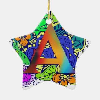 Motif décoré d'un monogramme floral coloré mignon ornement étoile en céramique