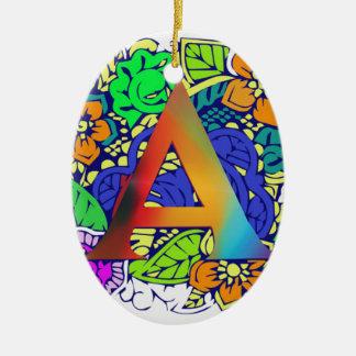 Motif décoré d'un monogramme floral coloré mignon ornement ovale en céramique