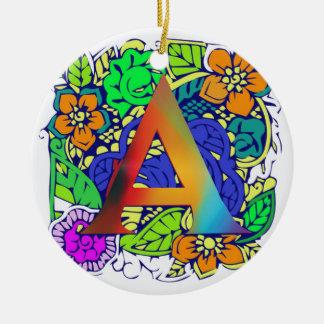 Motif décoré d'un monogramme floral coloré mignon ornement rond en céramique