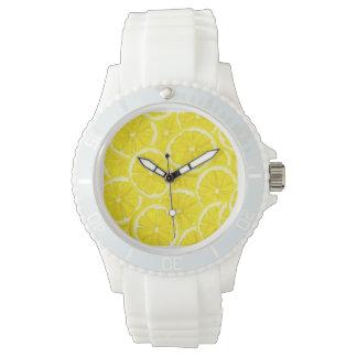 Motif découpé en tranches de citron montres bracelet