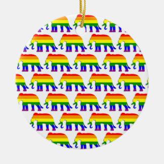Motif d'éléphant d'arc-en-ciel ornement rond en céramique