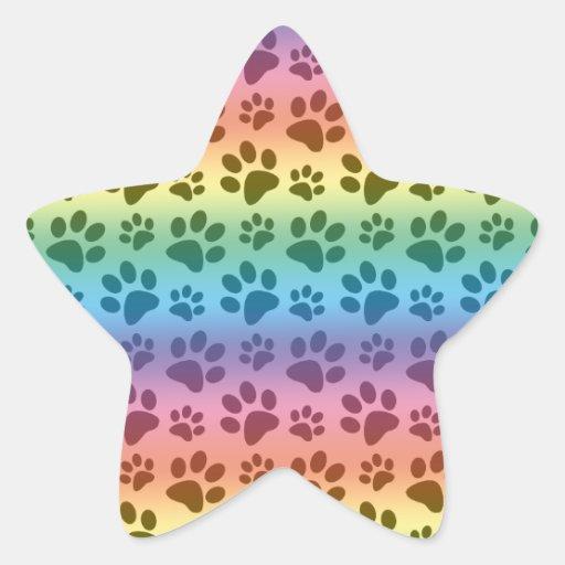 Motif d'empreinte de patte de chien d'arc-en-ciel autocollants en étoile