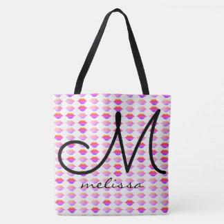 motif des lèvres roses avec le nom sac
