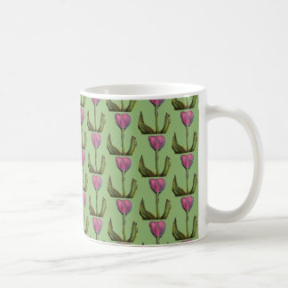 Motif des tulipes pourpres avec la tasse verte