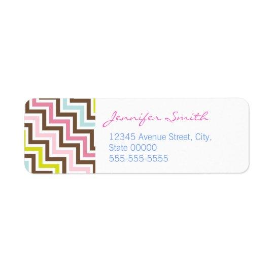 Motif diagonal de Chevron de zigzag de couleurs Étiquette D'adresse Retour