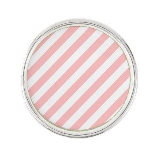 Motif diagonal de rose et blanc de rayures pin's