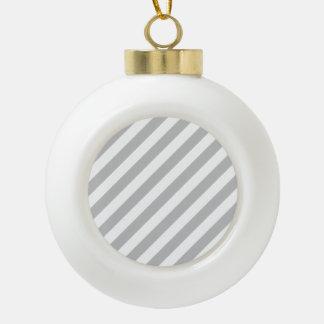 Motif diagonal gris et blanc de rayures boule en céramique