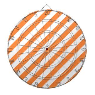 Motif diagonal orange et blanc de rayures jeux de fléchettes