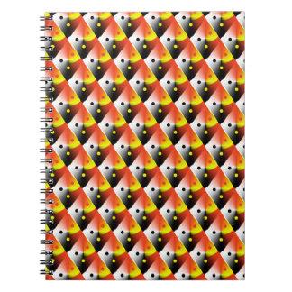 Motif diagonal rouge 3D et jaune Carnet