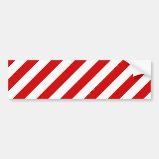 Motif diagonal rouge et blanc de rayures autocollant de voiture