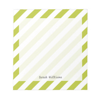Motif diagonal vert et blanc de rayures blocs notes