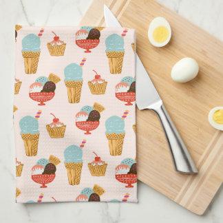 Motif d'illustration de crème glacée linge de cuisine