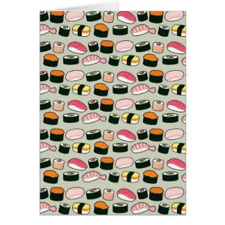 Motif d'illustrations d'amusement de sushi cartes