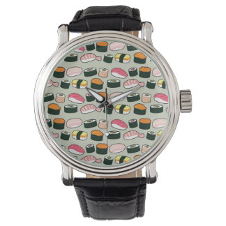 Motif d'illustrations d'amusement de sushi montre