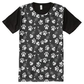 motif d'impression de chat d'os de poissons t-shirt tout imprimé