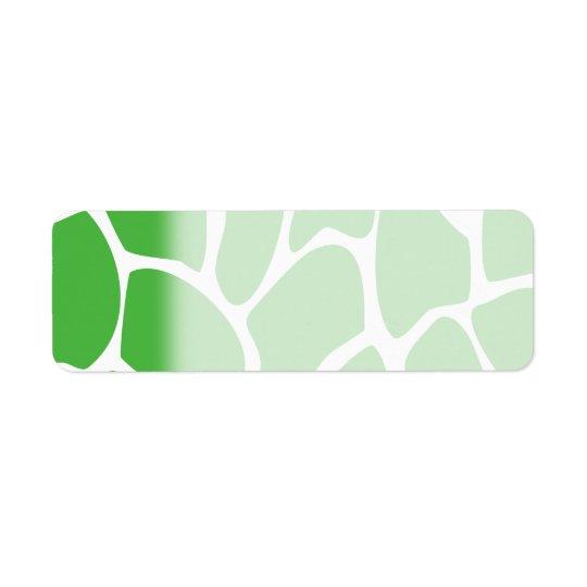 Motif d'impression de girafe en vert de jungle étiquette d'adresse retour
