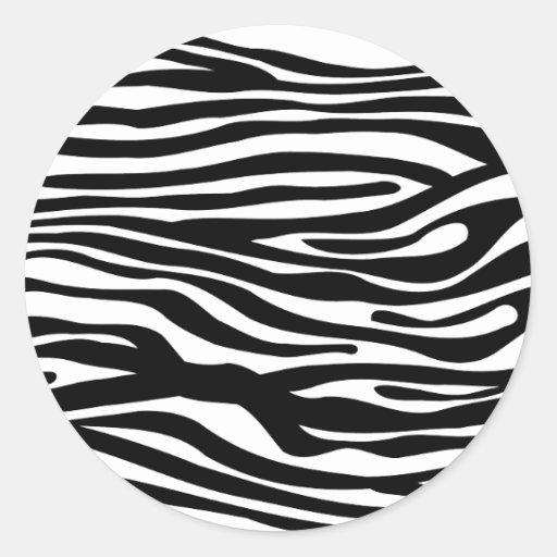 Motif d'impression de zèbre - noir et blanc autocollant rond