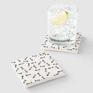 Motif d'os de poissons dessous-de-verre en pierre