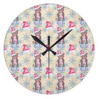 Motif d'ours de Noël Grande Horloge Ronde