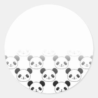 Motif d'ours panda de gradient sticker rond