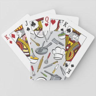 Motif d'outils de cuisine jeux de cartes