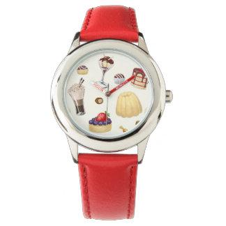 Motif doux avec de divers desserts montres bracelet