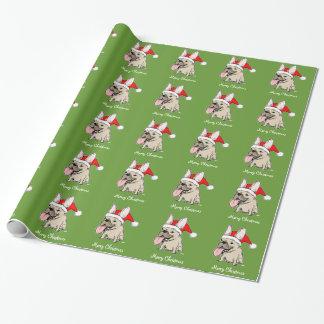 Motif drôle de Noël de Père Noël de bouledogue Papier Cadeau