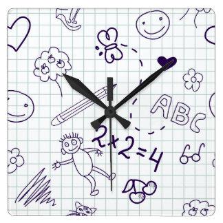Motif du dessin des enfants horloge carrée