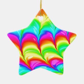 Motif du résumé 3D coloré par arc-en-ciel Ornement Étoile En Céramique