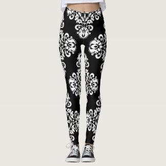 Motif élégant de damassé noir et blanc leggings