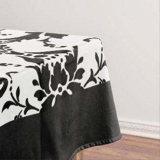Motif élégant de damassé noir et blanc nappe