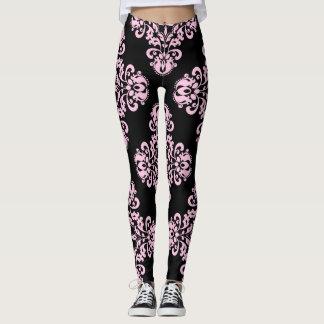 Motif élégant de damassé pâle - rose sur le noir leggings