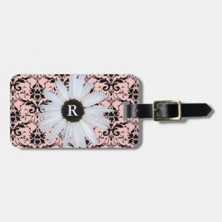 Motif | élégant décoré d'un monogramme rose de étiquette pour bagages