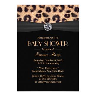Motif élégant d'empreinte de léopard de baby carton d'invitation  12,7 cm x 17,78 cm