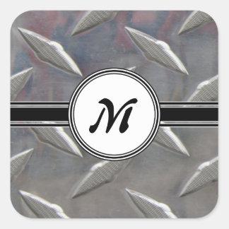 Motif en acier de monogramme en métal sticker carré