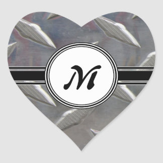 Motif en acier de monogramme en métal sticker cœur