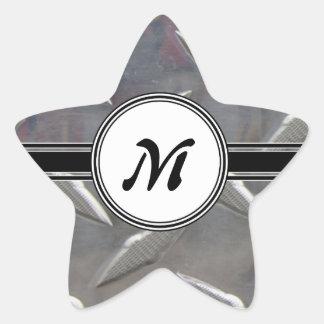 Motif en acier de monogramme en métal sticker étoile