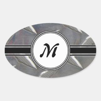 Motif en acier de monogramme en métal sticker ovale