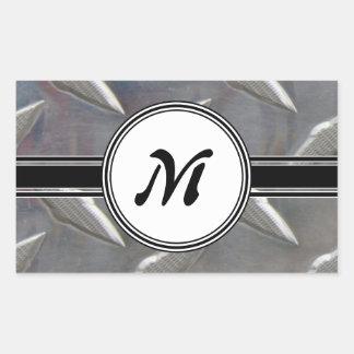 Motif en acier de monogramme en métal sticker rectangulaire