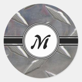 Motif en acier de monogramme en métal sticker rond