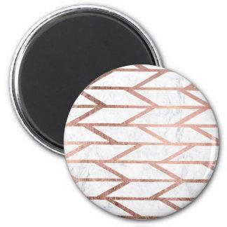 Motif en arête de poisson de chevron d'or rose à magnet rond 8 cm