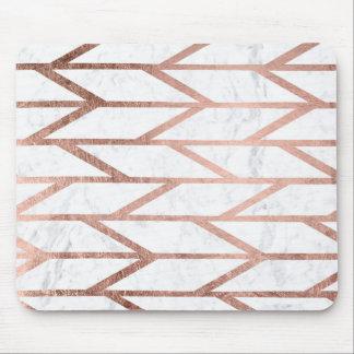 Motif en arête de poisson de chevron d'or rose tapis de souris