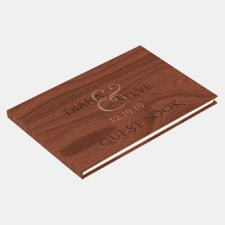 Motif en bois rustique élégant de grain du mariage livre d'or