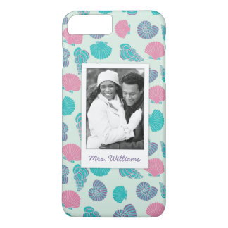 Motif en pastel | de coquillage votre photo et nom coque iPhone 7 plus