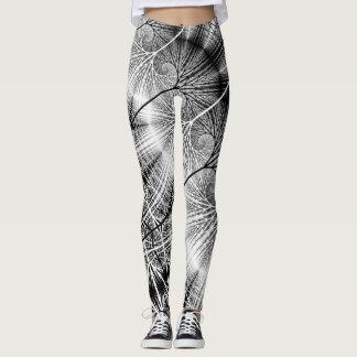 Motif en spirale transparent mystique de forêt de leggings