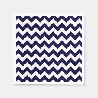 Motif en zig-zag blanc de Chevron de bleu marine Serviette En Papier