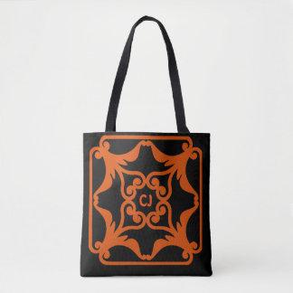 Motif encadré par fleur de coeurs de l'orange sac