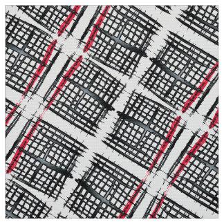 Motif entrecroisé noir et rouge avec l'aspect 3D Tissu