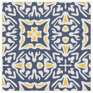 Motif espagnol de marine et de tuile de jaune tissu