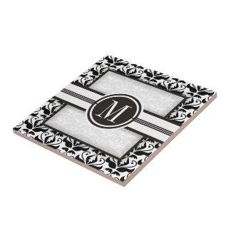 Motif et monogramme noirs et blancs élégants de carreau